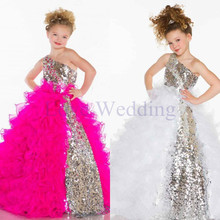 One Shoulder Cute Princess Girl Dress Sequins Ruffles Floor Length Girls Party Dresses Custom Made Flower Girl Dresses CH-1171 retail 2018 new style girl lovely flower girl dresses floor length girls dress bridal gowns children party dress lace003