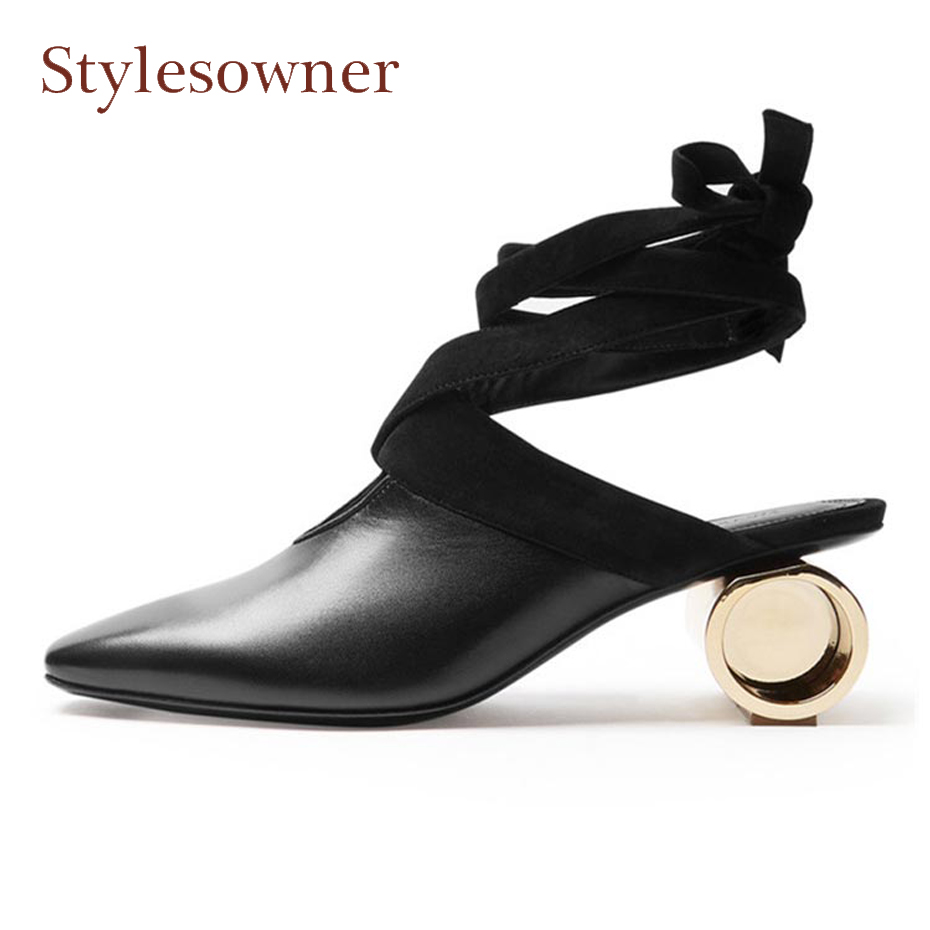 все цены на Stylesowner rome style ankle bandage strap women pumps close toe round strange heel retro lady sandals dress party shoes females