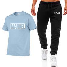 Summer Two Pieces Sets Men T Shirts+pants Suit Men cotton Tops Tees Fashion Brand Print Tshirt High Quality Short sleeve T-shirt цена и фото