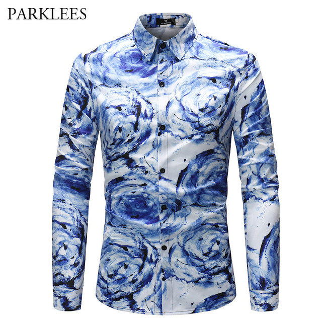 96a330c720805e Vortex Print Shirt Men 2019 Latest Paisley Floral Printed Mens Blue Social  Dress Shirts Casual Slim Fit Party Prom Chemise Homme