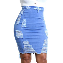 Women Denim Skirts Blue Casual Ladies Womens High Waist Ripped Distressed Bodycon Pencil Mini Jean Skirt