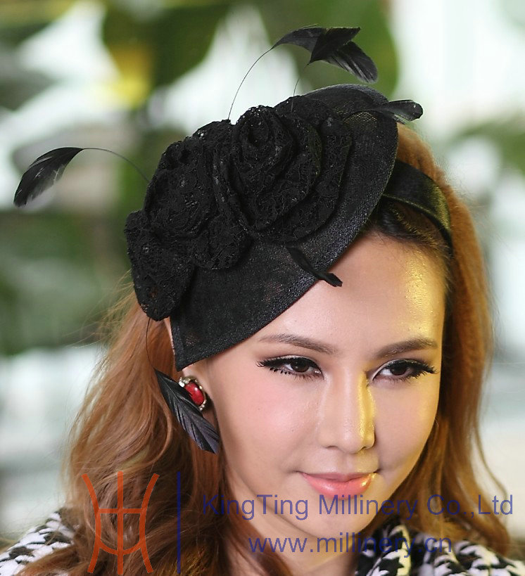 Free Shipping New Women Hat Elegant Black Fascinator Hats Hair Accessories Lace Rose With Feather Female Hair Decorator Headband women s hats and fascinators vintage sinamay sagittate feather fascinator with headband tocados sombreros bodas free shipping