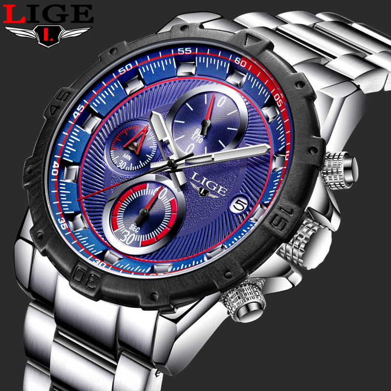 LIGE Luxury Brand Chronograph Sport Mens Watches Fashion Military Waterproof full steel Quartz Watch Clock Men Relogio Masculino new fashion mens watches gold full steel male wristwatches sport waterproof quartz watch men military hour man relogio masculino