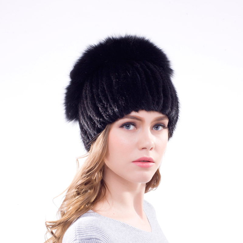 Women s winter real natural mink fur hat knitting hat personality design fashion pop cap