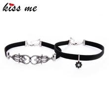 KISS ME 2 Pcs/Set Black Imitation Leather Geometric Crystal Flower Choker Necklace Unique Women Maxi Necklace Jewelry цена 2017