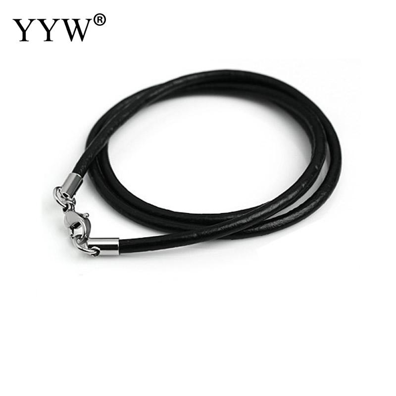 Black 3.0mm Rubber Cord//String//Rope Fashion Necklace with Silver Bayonet Steel End Connector Clasp 20 Inch 10Pcs