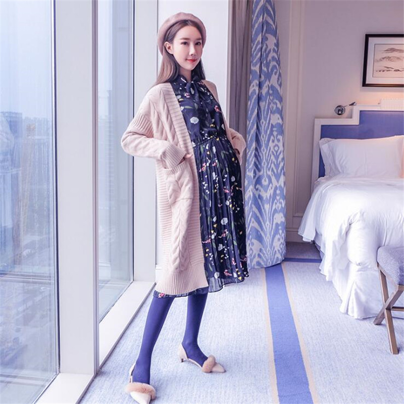 Free Size Pregnant Women Long Sweater Coat Fall Loose knitting Cardigan Spring Autumn Large Maternity Outfit Gravidas Roupas inc new beige cream latte women s size medium m ombre cardigan sweater $89 095