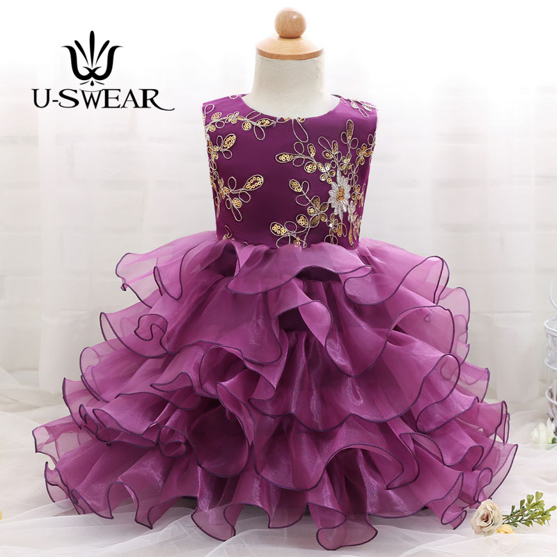 U-SWEAR 2019 New Arrival Kid   Flower     Girl     Dresses   O-Neck Sleeveless Sequined Beaded Ruffles Ball Gown Pageant   Dresses   Vestidos