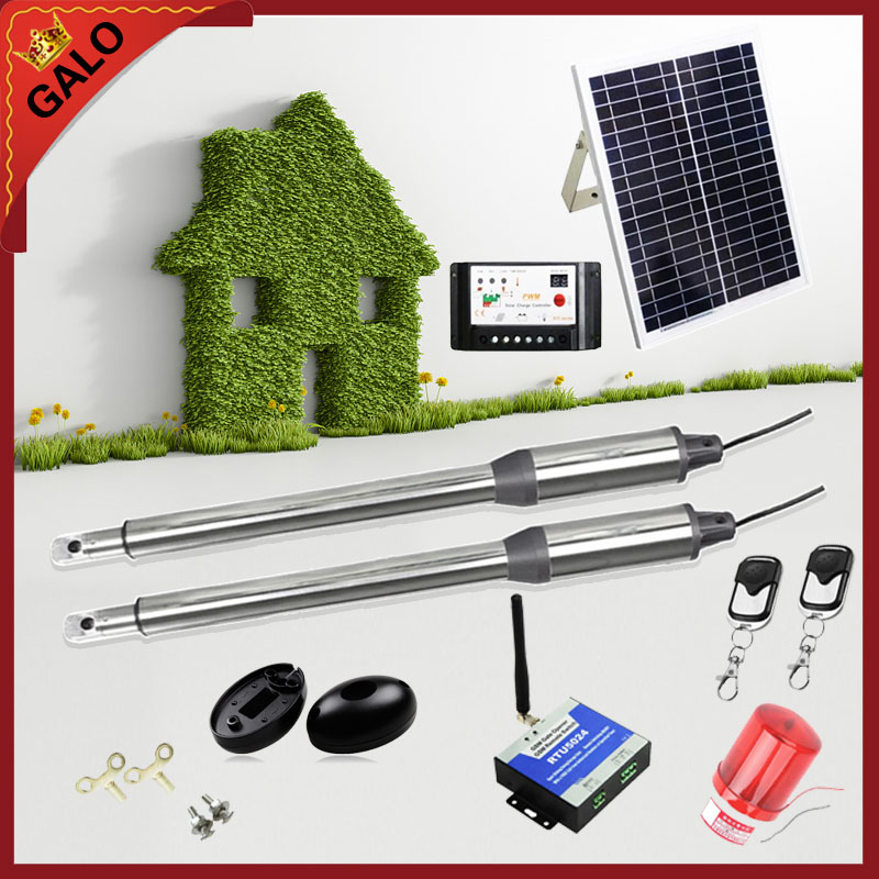 20W 17V Solar Panel Power System Linear Actuator Swing steel wooden Gate Opener DC24V Motor(photocell+lamp button gsm optional)