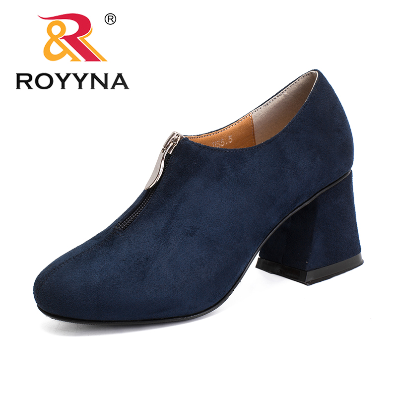 ROYYNA New Mature Style Women Pumps Flock Zipper Feminimo Formal Shoes Square Heels Lady Office Shoes Comfortable Free Shipping