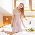 Resto Sling Vestido de Algodón de cuello V Mini Camisón Ocasional clásico Estilo Simple de Verano Camisa de Dormir ropa de Dormir de Color Sólido Mujeres de la Ropa Interior