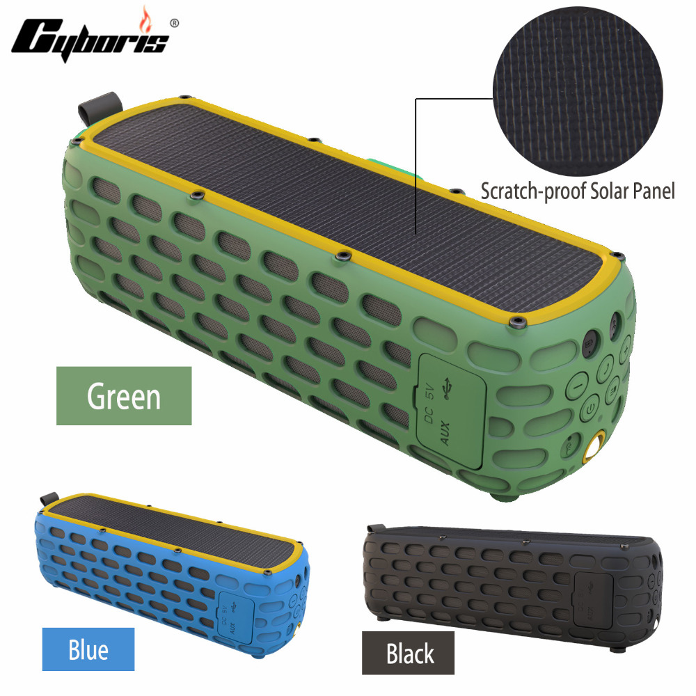 CYBORIS 2500mAh Portable Solar Wireless 4.0 Bluetooth Speaker 9W Waterproof HiFi Speaker for Outdoors Climbing Cycling with Mic