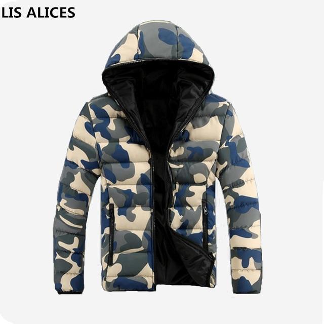 new styles c775e fde75 US $8.49 15% OFF Camouflage Winter Unten Jacke Männer 2018 Herren Winter  Jacken und Mäntel Doudoune Homme Hiver Marque Herren Daunen Jacke Mit  Kapuze ...
