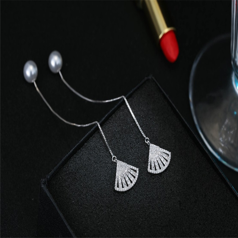 925 sterling silver Stud earrings Temperament geometric fan Set auger Women 39 s fashion jewelry wholesale in Stud Earrings from Jewelry amp Accessories