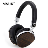 Original MSUR Solid wood Alloy Leather Headphone With 105dB Sensitivity 5Hz 25000Hz Frequency range Excellent HIFI Headsets