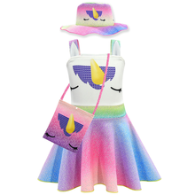 2019 new summer dress Unicorn Cosplay Girl Sling Dress Bag Hat Set Party Performance Costume