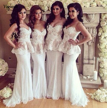 2019 White Beach Mermaid Bridesmaid Dresses Lace Sweetheart Strapless Formal Party Occasion