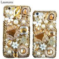 Luxury Gold Handbag Golden Cases For Iphone 5s Case Flowers Diamond Cute Flower Crystal Back Case