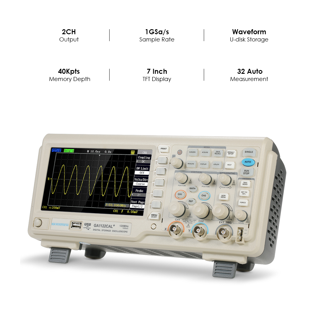 2CH 200MHz Digital Oscilloscope Scope Meter 8-bit Logic Analyzer 1GSa/s Sampling Rate GA1202CAL+232/ USB Oscilloscope