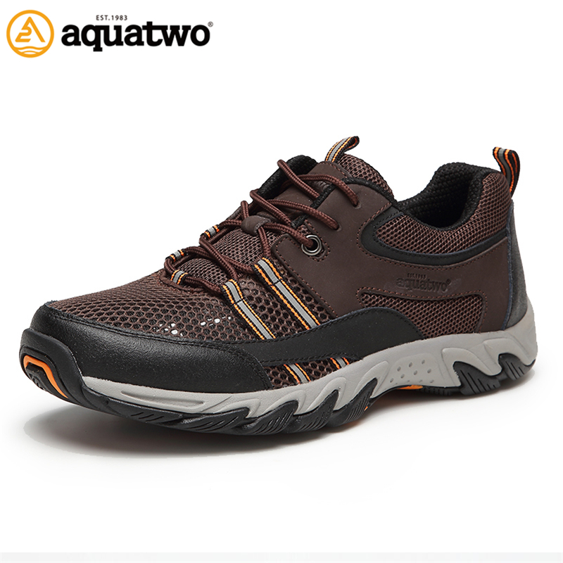 AQUA TWO Outdoor Sports Men Running Shoes For Men Air mesh Walking Sneakers Lace-up Breathable Shoes zapatos de hombre HDS102173 2016 new summer professional men s running shoes breathable mesh outdoor sports sneakers men trainers zapatos hombre 39 44