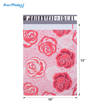 100pcs 25.5x33cm 10x13 inch Rose Love pattern Poly Mailers Self Seal Plastic Envelope Bags 1
