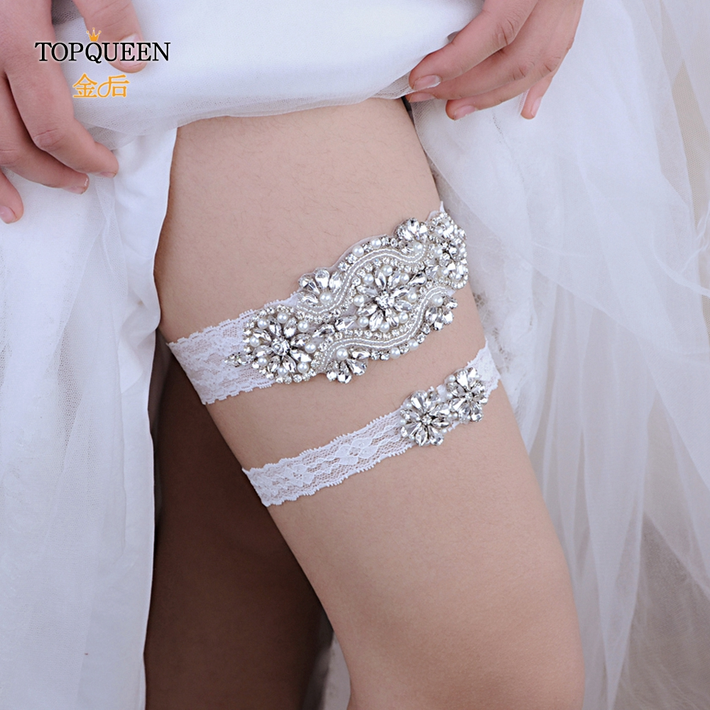 TOPQUEEN Lady Lingerie Garter Stocking Lace Garter Belt Legs Ring Harness Women  Belt Wedding Garter Bridal Girl THS05 TH20