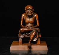wedding decoration China Buddhism Boxwood Wood Carving Arhat Damo Bodhidharma Dharma Buddha Statue