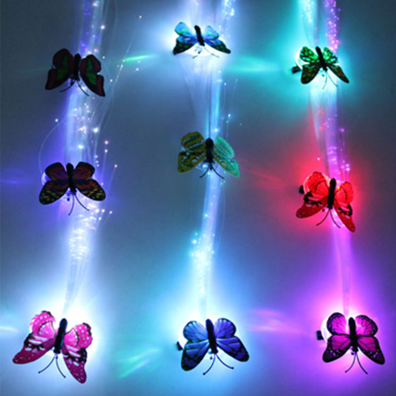 1Pcs LED Wigs Glowing Flash Butterfly  Hair Braid Clip Hairpin Decoration Show New Year Party Supplies Christmas