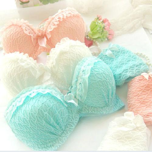 fashion Ladies Underwire Bra Set Push Up Bra Suit Lace Floral Padded Underwear A32-36