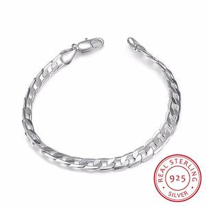 Bangle Jewelry Bracelet 925-Sterling-Silver Chains Men's 6mm for Male Gift 20cm Pulseiras-De-Prata