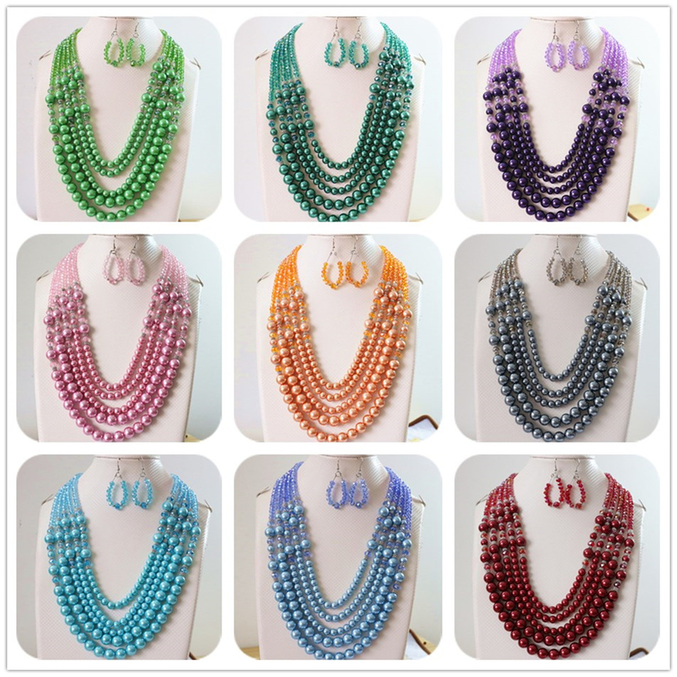 Crystal glass abacus faceted round shell simulated pearl beads earrings 5rows necklace new diy women jewelry set 20 25.5B983