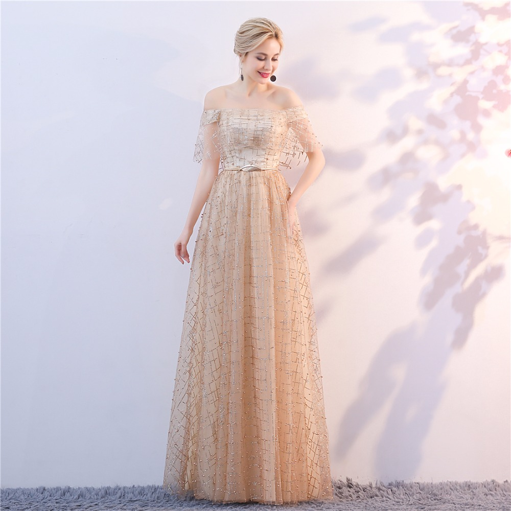 Golden Evening Dresses 2018 Nya Plus Size Tulle Ansökningar Långa - Särskilda tillfällen klänningar - Foto 2