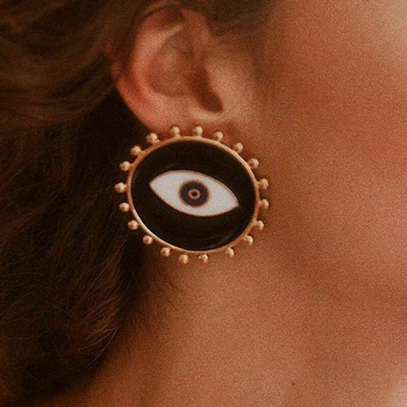 Black Circle Evil Eye Earrings