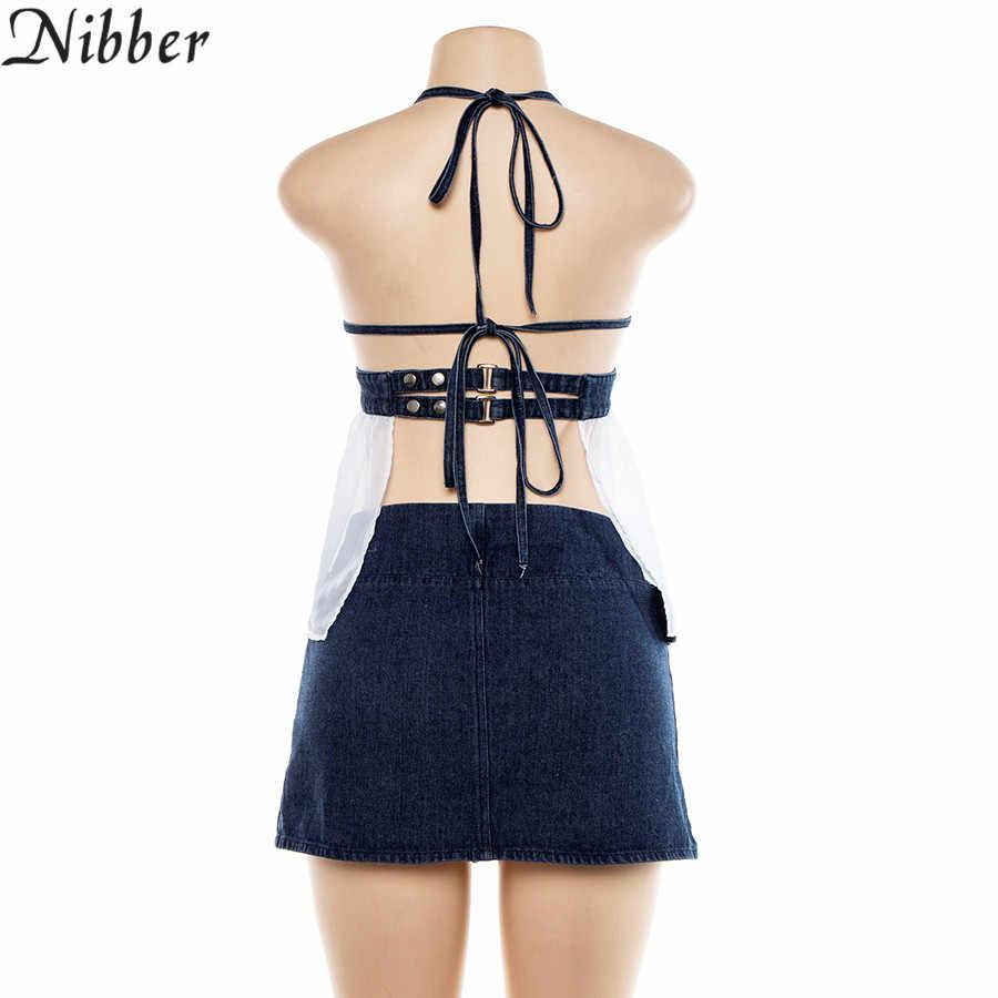 Nibber verano Denim mini faldas camisola dos piezas conjunto mujer 2019 newmoda cinturón Falda plisada mujer sexy Casual camisetas sin mangas trajes