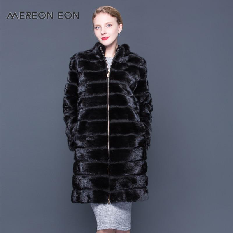 90 CM Frauen X Lange Real Nerz Mantel mit Zipper Mandarin