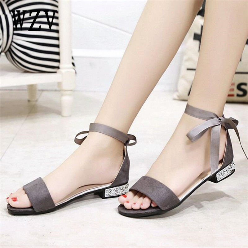 Korean Style 2018 Summer Women Sandals Open Toe ribbon Lace-up Womens Flat Sandles With low Women Shoes Gladiator Shoes B354