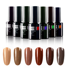 Comercio al por mayor 1 unid empapa de UV LED 10 ml Brown Coffee Gel Polish Color Nail Art