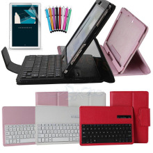Para samsung galaxy note pro 12.2 p900/p901/p905 cubierta abs desmontable bluetooth wireless keyboard y estuche protector de cuero de la pu case