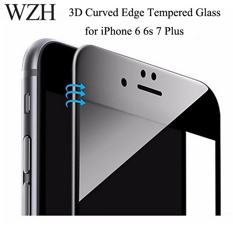 9H Glossy 3D Curved Carbon Fiber Soft Edge Tempered Glass For iPhone 6 6s Plus Phone Screen Protector Film For iPhone 7 8 Plus image