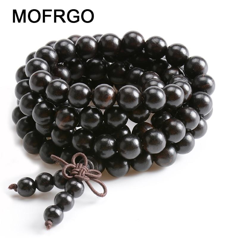 Natural Ebony Tibetan Buddha Mala Bracelet Wooden 108 Bead Necklace Black Charm Multilayer Bracelets For Women Men Jewelry Gift