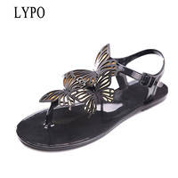LYPO Women Sandals Summer Crystal Sweet Butterfly Knot Jelly Shoes Woman Candy Color Sandalias Mujer 2018