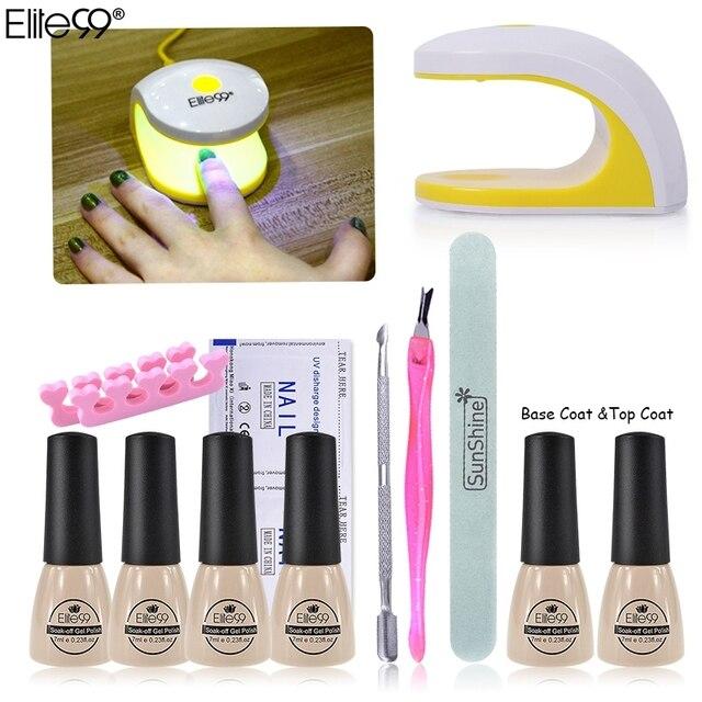 Elite99 4pcs Chameleon UV Nail Gel Polish Set & Kit Base Gel Top Coat Polish Kit Set  Nails Tools And LED UV Lamp Manicure Kit