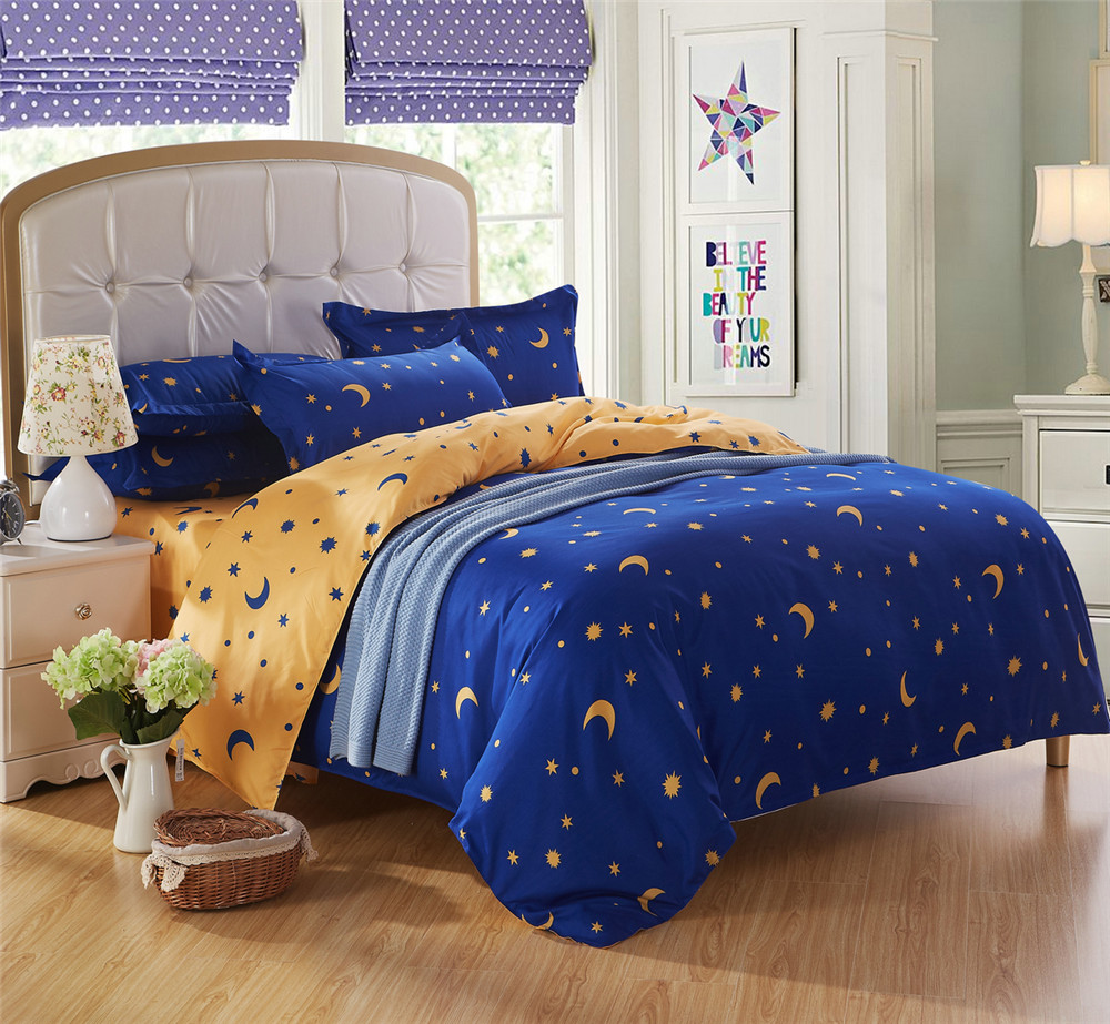 queen king twin bedding bed sets for kids 45 pcs star moon bright blue and yellow quilt comforter duvet cover boys bed a bag - Twin Bed Comforters