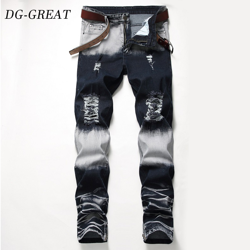 2019 New Ripped Jeans Men With Holes Denim Super Skinny Famous Spring Summer Slim Fit Jean Pants Scratched Biker Jeans Plus Size