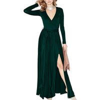 Fashion Classic Long Dresses Woman Spring Sexy Side Thigh Split Full Seeve Plunge Tie Belt Floor Length Dress Robe Longue Femme