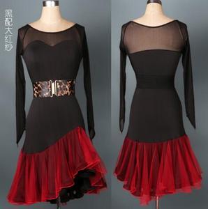 Personnalisé noir rouge vin rouge Paso Double jive Rumba cha cha salsa robe de danse latine vêtements de compétition S-XXL spandex l016