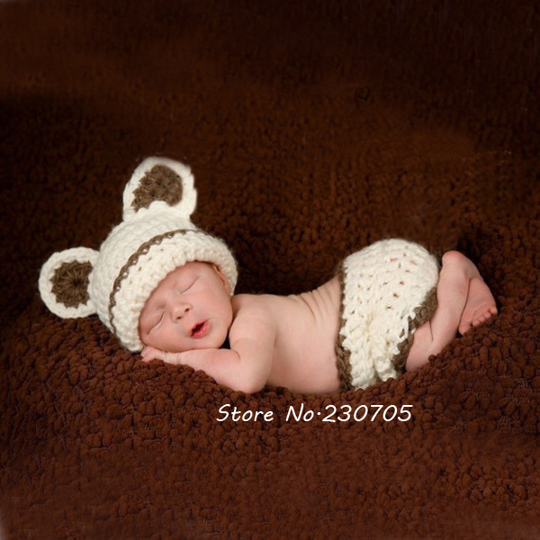 6082f3486 Cute Infant Baby Hand Knitted Crocheted Bear Hat Costume Photo Photography  Prop Newborn Costume Gift 0
