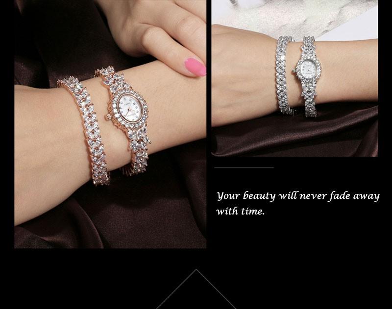 16 50M Waterproof Selberan Gold/Silver Natural Zircon Wrist Watch for Women Luxury Ladies Bracelet Watch Montre Femme Strass 4