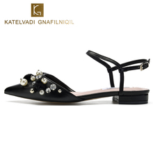 KATELVADI Dress Sandals Low Heels Summer Black PU Leather Pearls Sapatos Feminino Womens K-341