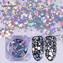Голографические серебристые и золотые блестки для ногтей, смешанные размеры, круглые Блестки для ногтей, блестки, блестки, 1 мм, 2 мм, 3 мм, маникюрные наконечники, украшения